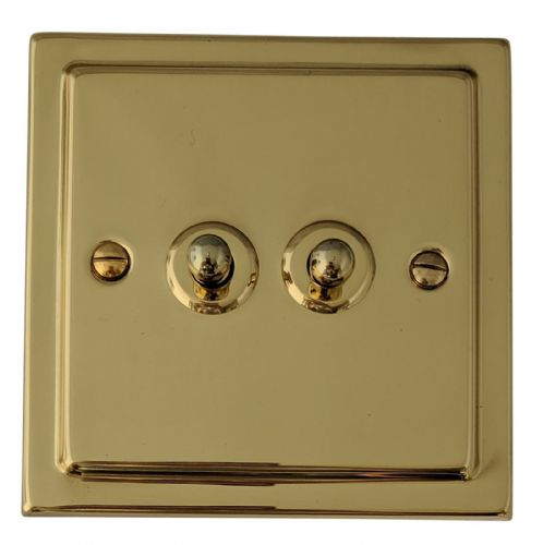 G&H TB282 Trimline Plate Polished Brass 2 Gang 1 or 2 Way Toggle Light Switch